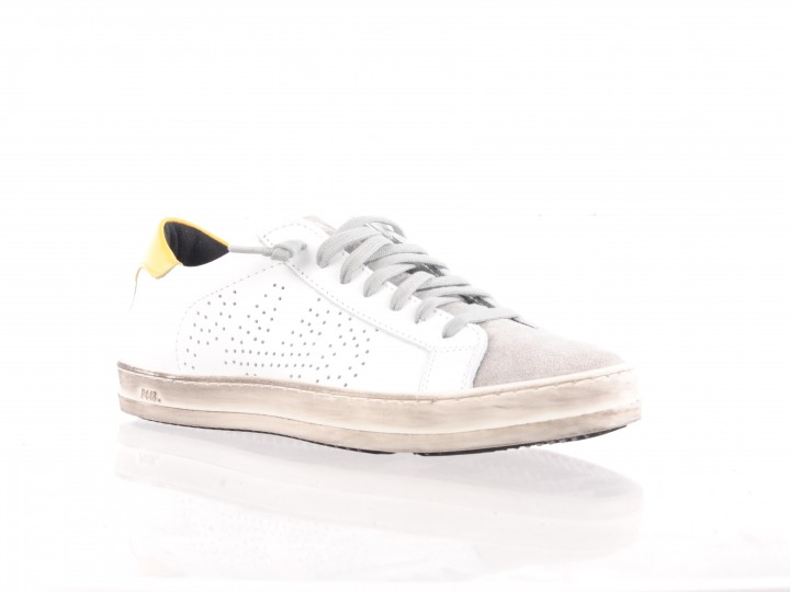 P448 dames sneaker wit en geel leder