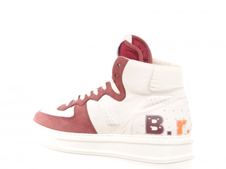 halfhoge sneaker van het Italiaanse Barracuda in rood-witte combinatie