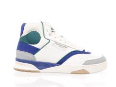 Stoere 'dad sneaker' van Bronx in een combinatie van beige en zwart leder met okergele en roestkleurige accenten.